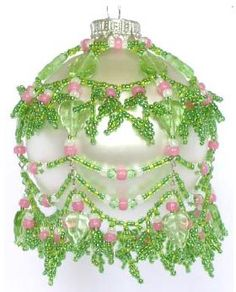 August Peridot Ornament Pattern by Deb Moffett-Hall aka Patterns to Bead Beaded Ornament Covers, Beaded Ornaments, Holiday Ornaments, Christmas Tree Ornaments, Christmas Crafts, Beaded Christmas Decorations, Christmas Cover, Ornament Tutorial, Beaded Crafts