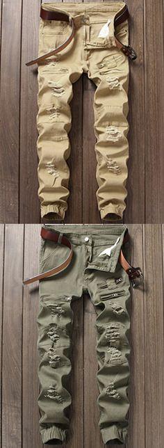 Zipper Fly Distressed Panel Design Beam Feet Jeans