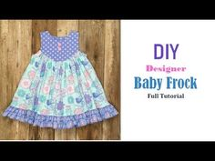 Diy Designer Baby Frock Cutting And Stitching Full Tutorial Little Girl Pageant Dresses, Baby Girl Christmas Dresses, Girls Party Dress, Baby Dresses, Baby Romper Pattern, Baby Dress Patterns, Baby Clothes Patterns, Cotton Frocks For Kids, Frocks For Girls