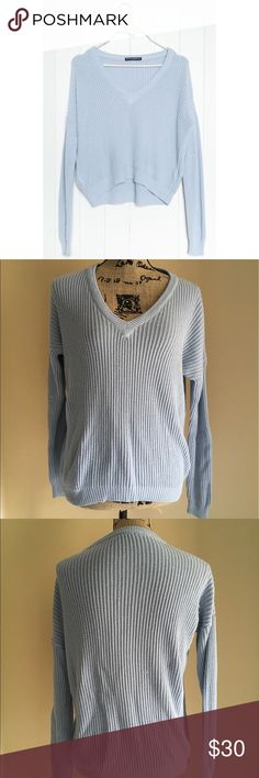 Brandy Melville Sherry Sweater Brandy Melville pastel blue sherry sweater. This sweater is brand new and has not been worn washed or dried but it has flaws. It has some pulling and a small hole located near underarm Brandy Melville Sweaters V-Necks