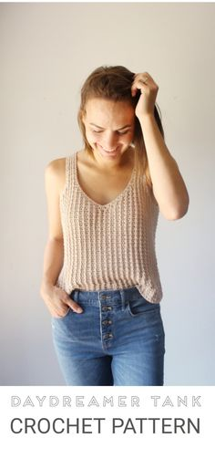 So much texture 🖤 - pattern available on Etsy and Ravelry tejidos Daydreamer Tank Crochet Pattern Crochet Tank Tops, Crochet Summer Tops, Crochet Shirt, Free Crochet, Knit Crochet, Crochet Vests, Crochet Patterns, Crochet Edgings, Shawl Patterns