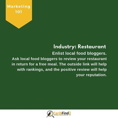 Use a local blogger or a newspaper lifestyle journalist to get an outside feature on your restaurant's menu. This is often an inexpensive way of reaching a new market and getting a testimonial that can be shared on your online channels. . . .  #caribfind #marketing #accounting #smallbusiness #entreprenuer #tips #smallbizz #success #cpa #tools #customers#focus #business #caribbean #networking#follow #leadership #directory #seo #searchengine #website #local #restaurant #bloggers #influencers… How To Get, How To Plan, New Market, It Network, Menu Restaurant, Public Relations, Newspaper, Business Tips, Leadership