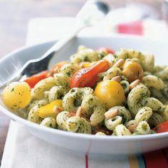 Cavatappi with Arugula Pesto and Cherry Tomatoes   CookingLight.com