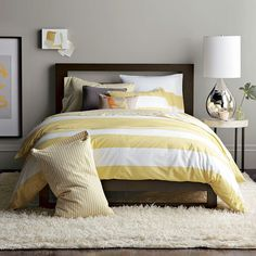 "OH these colors ""speak to me""...so pretty >...you hate to close your eyes....Yellow Striped Duvet - Grey Walls - Master or Guest Bedroom Ideas"