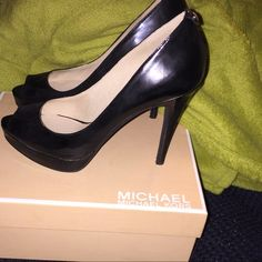 "Michael Kors 4.5"" heels Black patent peep toe Michael Kors Shoes Heels"