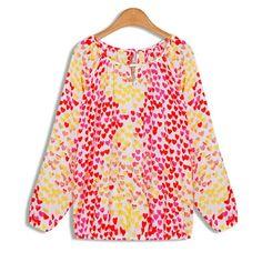 39,90EUR Bluse mit pink roten und gelben Herzen Chiffon