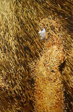 Brad Kunkle | Cocoon (oil and gold leaf on linen)