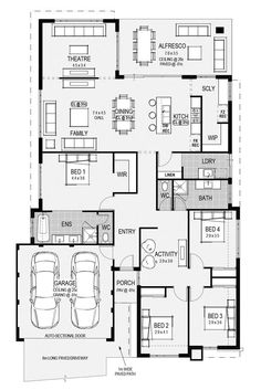 Like the beds all in one end. Put family bath with toilet between beds and have powder room where bath is. I just don't get having a toilet with no sink and having guests use bathroom kids use! Floor Plan 4 Bedroom, 4 Bedroom House Plans, New House Plans, Dream House Plans, House Floor Plans, Dream Home Design, Home Design Plans, House Design, Architectural Floor Plans