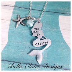 The Sea Is Calling Mermaid Necklace Hand Stamped Mermaid Sea