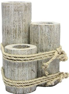 Amazon.com - Wood 3 Pier Post Tealight Holder Candle Nautical Tropical Home Decor Art Bed Bath