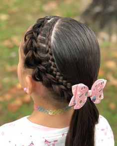 Pull through braid and Dutch lace braids into a low ponytail 🎀🌸💜 Low Ponytail Hairstyles, Girls Natural Hairstyles, Girl Hairstyles, Curly Hair Styles, Natural Hair Styles, Pull Through Braid, Toddler Hair, Amber, Hair Makeup