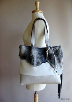 b12124ad41 RESERVED for Erin White Leather Tote with Blue Grey by stacyleigh Horgolt  Csipke, Kék Farmer