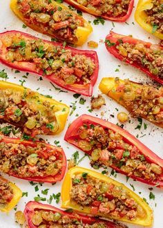 For this week's make-ahead dinner party menu from Ina Garten, we loved this colorful appetizer of stuffed peppers. The recipe also fits Ina's philosophy of making a dish ahead: Look for things that would be naturally made ahead and simply baked just before serving.
