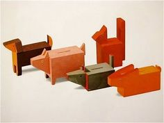 wooden money boxes, vintage, by Minka Podhajska's, 1930.