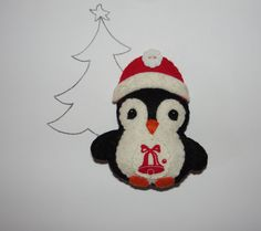 Christmas Ornament, Wool Felt Penguin Ornament, Penguin, Felt Pengiun, Christmas…