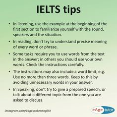 IELTS general tips. #ieltstips #learnenglish #mondaymotivation #practiceenglish #eagespokenenglish