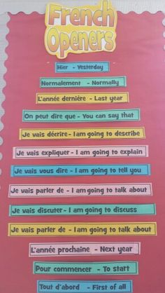 Literacy display of French sentence openers for VCOP.