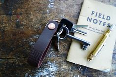 www.877workshop.com — Keychain embossed brown leather copper rivet