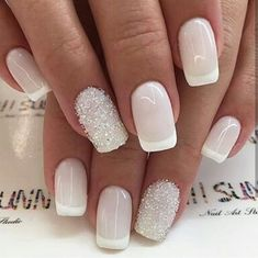 Installation of acrylic or gel nails - My Nails Wedding Nails For Bride, Wedding Nails Design, Love Nails, Pretty Nails, Bride Nails, Nagel Gel, Powder Nails, Winter Nails, Nails Inspiration