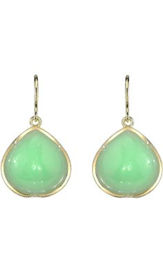 Irene Neuwirth Mint Chrysoprase Pear-Shaped Drop Earrings. Barneys!