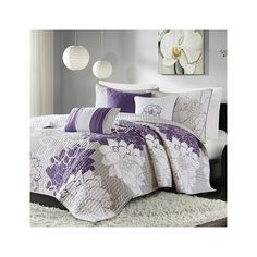 Madison Park Lola 6 Piece Quilted Coverlet Set ($99) ❤ liked on Polyvore featuring home, bed & bath, bedding, quilts, purple, purple shams, embroidered pillow shams, purple coverlet, purple bedding and floral pillow shams