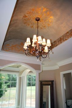 Barrel ceiling stenciled with gold leaf using a Modello™ Designs vinyl stencil. Artist: Lauren Gaines Love everything. Recessed Ceiling, Ceiling Decor, Ceiling Design, Wall Design, House Design, Ceiling Ideas, Metallic Paint Walls, Barrel Ceiling, Plafond Design