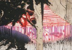 Magenta Strip | jaggedart Magenta, Purple, City Scene, Lino Prints, Watercolours, Printmaking, Mauve, Buildings, Composition