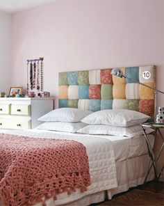 I like the idea for a pillowed headboard - multicolored throw pillows