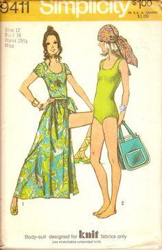 beach separates sewing pattern Simplicity 9411 knit bodysuit wrap skirt S12 B34 $3.99