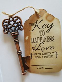 Escort card with skeleton key bottle opener.