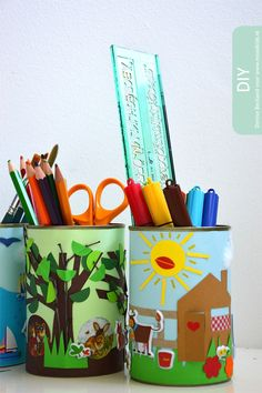 diy blik bureau accessoires maken  #diy #kidsroom #moodkids