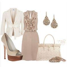 Ruffles, Cream, Dressy, Work, Skirt, Pearls