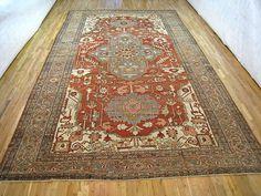 "Persian: Geometric 18' 8"" x 11' 0"" Antique Serapi at Persian Gallery New York - Antique Decorative Carpets & Period Tapestries"