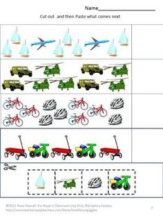 TRANSPORTATION- Vehicles That Get Us Where We Need To Go For Pre-K,K and Special Education Children are fascinated with different vehicles from cars to trucks to school buses to bicycles. This packet contains 18 cut and paste worksheets featuring a variety of vehicles.