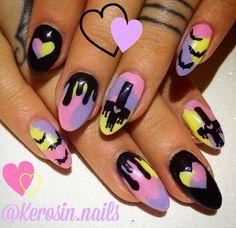 Nails art gel pastel New Ideas Pastel Goth Nails, Goth Nail Art, Gothic Nails, Halloween Nail Designs, Halloween Nail Art, Cute Nails, My Nails, Drip Nails, Kawaii Nail Art