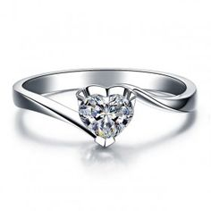 0.5CT Heart Cut Created White Sapphire Rhodium Plated 925 Sterling Silver Women's Promise Ring / Engagement Ring
