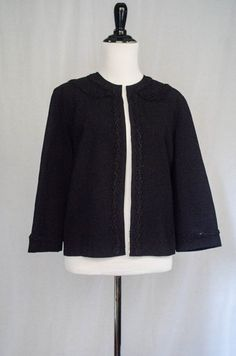Vintage 1940's 'Mayfair' Embellished Black Collarless Cropped Jacket Size M by BeehausVintage on Etsy