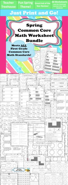 This spring worksheet bundle meets ALL first grade common core math standards. It is great for early finishers, homework, and end of the year review! Ensure your students have met all the standards!  • 46 Common Core Worksheets • 1 Hundreds Chart • Title pages dividing worksheets sections by standard