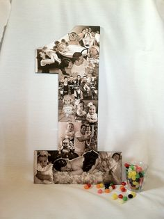 Photo collage in the shape of the number one - i love this idea