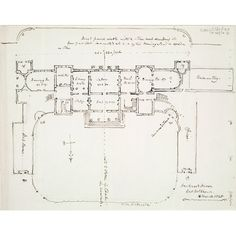Annotated plan of Hackwood Park, Hampshire, the residence of Lord Bolton | RIBA