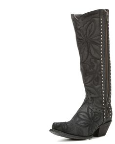 Women's Embroidered Snip Toe Boot, Black