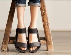 Black Handmade Sandals /First Layer True Oxfords/Relaxation Flat Bottom