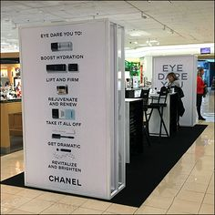 More than s store-within-a-store or ordinary pop-up store, this Chanel Eye-Dare-You Pop-Up Salon offers a complete menu of cosmetics items and services. Retail Fixtures, Cosmetic Items, Visual Merchandising, Dares, Pop Up, Close Up, Locker Storage, Salons, Nordstrom