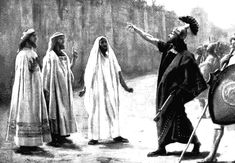 This is Sennacherib's emissary, Rab-shakeh, standing before the walls of Jerusalem, before a siege. He'd boasted against God so Hezekiah (of Israel) prayed. As a result, God promised him that the Assyrians would never step foot inside the city of Jerusalem. God slew 185,000 Assyrian forces in one night and Sennacherib had to return to Ninevah where he was slain by his own sons.  Painting by the Spanish 19th C Jose Villegas. http://www.biblepicturegallery.com/free/Pics/Hezekia3.gif