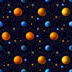 Planets, Orbits and Stars - original pattern available at patternbank #pattern #planet #orbit #stars #space #venus #fabric
