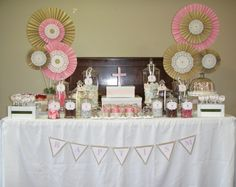 Baptism - Pink, burlap and brown. Paper fans in pink, latte and lace paper. Pink crystal encrusted cross.