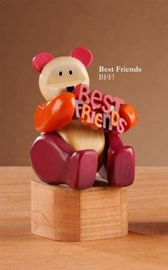 Pozy Bear - Sent Best Friends by Giftcraft POZY BEARS® inspired by artist David Miller's original wood carvings 2.5x3x4.7 Boxed for giving polyresin bear