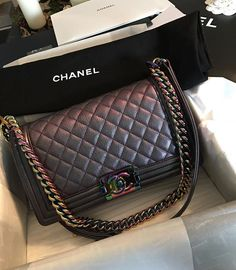 "CHANEL on Instagram: ""Beautiful Iridescent Boy CHANEL Flap Bag by @aliceangeliquevejen #chanelbag #chanelboy #boybag"""