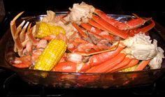 We try to do this for our New Years Eve dinner each year. Shrimp and Crab Boil Recipe 2 pounds snow crab legs 1 pound uncooked shrimp. Seafood Gumbo, Seafood Dinner, Seafood Salad, Dinner Menu, Dinner Ideas, Seafood Boil Recipes, Shrimp Recipes, Shrimp Dishes, Fish Dishes