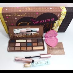 Too Faced The Sweeter Side of Sexy Collection  Limited Edition Too Faced Kit  What You Get (all full sizes)!   Semi-Sweet Chocolate Bar Eyeshadow Palette   Love Flush 16-Hour Blush - Justify My Love (bright pink with fine gold sparkle)   Shadow Insurance Eyeshadow Primer   Better Than Sex Mascara - Black   1-year subscription to Allure magazine   Price firm, no trades. Bundle for a discount. Bought separately, contents = $118  Your deliciously collectible box will come sealed. Too Faced…